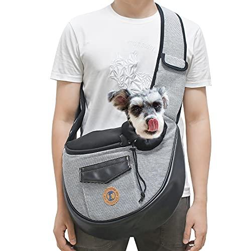Zuukoo Tragetuch Hund, Hundetragebeutel Tragetücher Kleine Haustier Schilderträger Single-Schulter Tragetaschen Schultertasche Verstellbare Gepolsterte Schultergurt, Grau