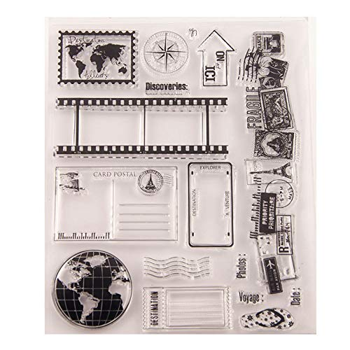 MaGuo Journey Diary Travel Postage Clear Stamps for Card Making Decoration and DIY Scrapbooking
