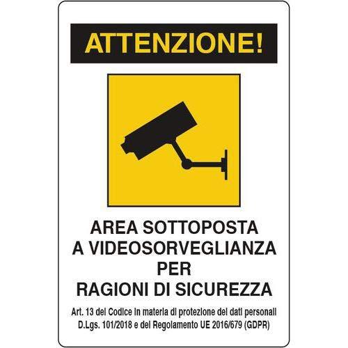 """CARTELLI SEGNALETICI""""AREA SOTTOPOSTA A VIDEOSORVEGLIANZA 20 X 30 cm GDPR"""" IN PVC (1)"""