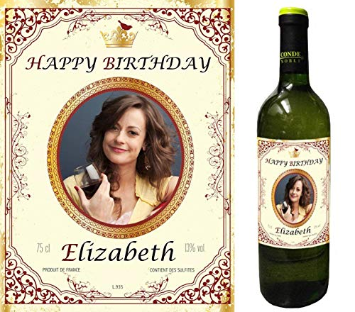Party People 1 x Etiqueta DE Botella DE Vino Personalizada. Cualquier Nombre Y Mensaje (DISEÑO 1)