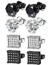 JOERICA 4 Pairs Stainless Steel Stud Earrings for Men Women Earrings CZ Inlaid,6-8mm