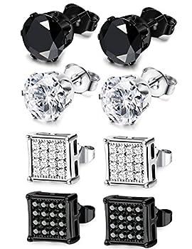 JOERICA 4 Pairs Stainless Steel Stud Earrings for Men Women Earrings CZ Inlaid 8mm