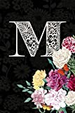 M: Carnation Flower Journal, personalized monogram letter M blank lined diary with soft carnation interior pages.