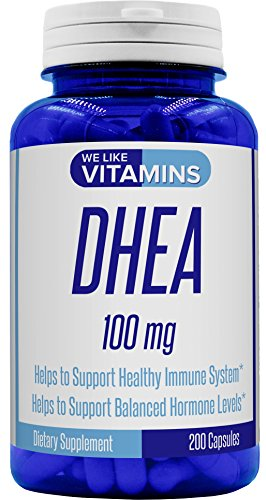 DHEA 100mg 200 Capsules - 200 Day Supply of DHEA Capsules - Helps with Hormone Balance and Energy Levels for Men & Women