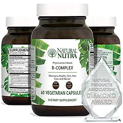 Natural Nutra Vitamin B Complex with Niacin, Folic Acid, Biotin, Whole Food Supplement