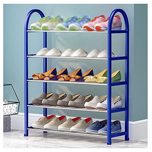 FEIYIYANG Zapato Rack de 5 Capas Estante de pie Zapato de Zapatos Organizador Metal Calzado Fijo Almacenamiento Rack Sala de Estar Dormitorio Corredor Zapato Organizador Rack (Color : Blue)