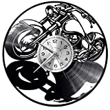 WoD Harley Davidson Reloj de Pared único Discos de Vinilo Movimiento de Cuarzo silencioso Hecho a Mano Negro Creativo Reloj Decorativo de Pared a Pared Mechanical Art Decor Disco de Vinilo