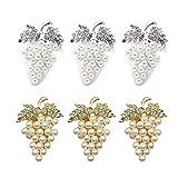 Camisin Juego de 6 servilletas de uva con diamantes de imitación brillantes y perlas incrustadas de aleación de servilleteros (3 oros+3 platas)