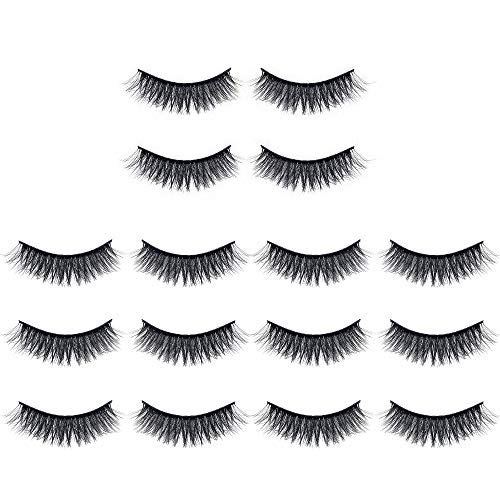 Anself 7 Pcs Faux Cils Naturels Faux Cils Longs Cils de Maquillage de Vison Extension de Cils Cils de Vison