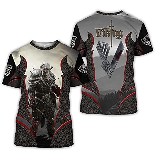 Serired Camiseta Tatuaje Odin Guerrero Vikingo con Estampado 3D para Hombre, Camisetas Nórdicas Retro Celtas de Manga Corta,XXL