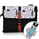 Frolickly Portable Diaper Changing Pad | Extra Long 33' Inch Changing Mat for Newborns and Toddlers | Protect Baby's Head with Diaper Pocket Pillow | Waterproof Travel Changing Pad