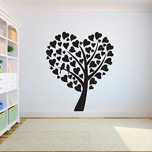 WERWN Etiqueta engomada de la Pared del árbol Etiqueta engomada del Vinilo Dormitorio corazón árbol Vida raíz Sala de Estar decoración del hogar Yoga Estudio calcomanía Aula Arte Mural