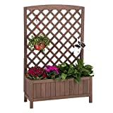 "Raised Garden Bed Outdoor Planter Box with Trellis for Flower Standing Vertical Lattice Panels for Vine 31"" L x 12"" W x 47"" H"