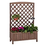 """Raised Garden Bed Outdoor Planter Box with Trellis for Flower Standing Vertical Lattice Panels for Vine 31"""" L x 12"""" W x 47"""" H 7 OVERALL DIMENSIONS: 31.1""""(L) x 12.2""""(W) x47.2""""(H).garden raised bed perfect for all kinds of plants, anywhere - gardens,yard, terraces, balconies, corridors,patios, turn your space into a green one. Garden planter with trellis creates a good stable environment for your creeping and vine plants.Any kind of Light gardening tools and beautiful decorations can be hung on the trellis to beautify your garden. Reinforced thick frame supported flower box can strongly hold for the heavy plants,soil, water. Large space to grow anything from flowers to vegetables to herbs,it can serve a decorative work,also fully plays it practical role."""