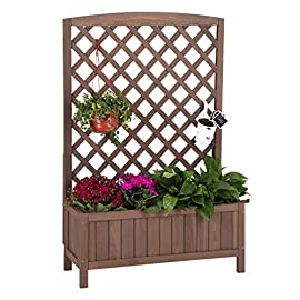 "Raised Garden Bed Outdoor Planter Box with Trellis for Flower Standing Vertical Lattice Panels for Vine 31"" L x 12"" W x 47"" H 1 OVERALL DIMENSIONS: 31.1""(L) x 12.2""(W) x47.2""(H).garden raised bed perfect for all kinds of plants, anywhere - gardens,yard, terraces, balconies, corridors,patios, turn your space into a green one. Garden planter with trellis creates a good stable environment for your creeping and vine plants.Any kind of Light gardening tools and beautiful decorations can be hung on the trellis to beautify your garden. Reinforced thick frame supported flower box can strongly hold for the heavy plants,soil, water. Large space to grow anything from flowers to vegetables to herbs,it can serve a decorative work,also fully plays it practical role."