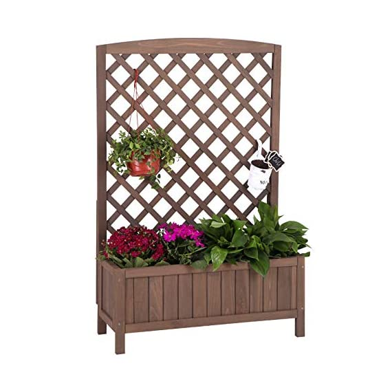 """Raised Garden Bed Outdoor Planter Box with Trellis for Flower Standing Vertical Lattice Panels for Vine 31"""" L x 12"""" W x 47"""" H 1 OVERALL DIMENSIONS: 31.1""""(L) x 12.2""""(W) x47.2""""(H).garden raised bed perfect for all kinds of plants, anywhere - gardens,yard, terraces, balconies, corridors,patios, turn your space into a green one. Garden planter with trellis creates a good stable environment for your creeping and vine plants.Any kind of Light gardening tools and beautiful decorations can be hung on the trellis to beautify your garden. Reinforced thick frame supported flower box can strongly hold for the heavy plants,soil, water. Large space to grow anything from flowers to vegetables to herbs,it can serve a decorative work,also fully plays it practical role."""