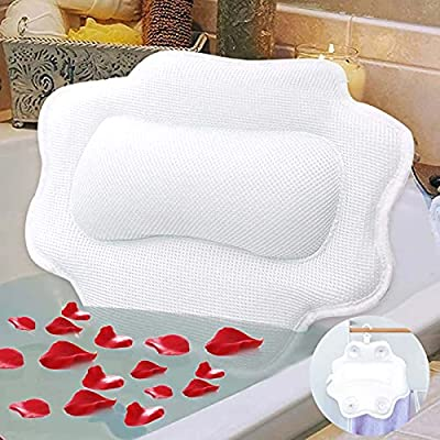 Bathtub Pillow for Soaking Tub,5D Air Mesh Bathroom Pillow,Non-Slip 4 Powerful Suction Cups,Bath Pillow for Head,Neck and Shoulder Support