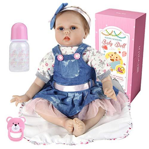 haojiaa Realista 55cm Muñeca Reborn Lleva un Falda Vaquera Azul Muñeco Reborn bebé Niña Vinilo Silicona Muñecas Bebe Reborn Babys 22 Pulgadas Niños Hecha a Mano Juguete