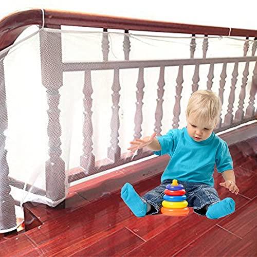 Barrera Para Niño O Animal,Red De Seguridad Infantil,Malla Protectora Duradera Al Aire Libre Del Protector De Las Escaleras De La Barandilla Del Balcón,Protector De Riel De (Size:600×78cm,Color:White)