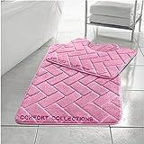 Comfort Collections Memory Foam Bath Mat Set Pedestal Toilet Mat Bathroom Rug 2 Piece Soft Absorbent Non Slip Block Blush Pink Bath Mat (50CM X 80 CM) & Pedestal Mat (50CM X 40 CM) Approximate