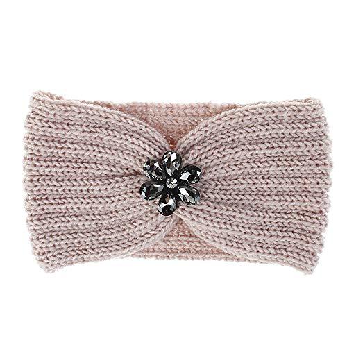 geiqianjiumai Neue Haarschmuck Damen Haarband gestrickte warme Ohrenschützer mit Diamanten Haarband rosa Farbcode gesetzt