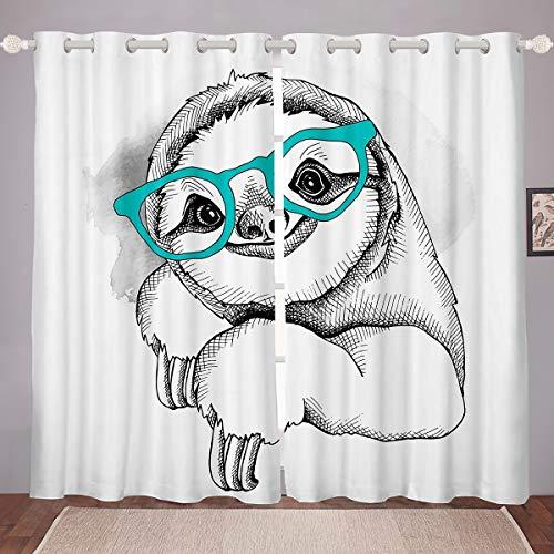 Cortina para oscurecer habitación Perezosa Pintada a Mano con Gafas Opacas, con impresión de Perezosos de Dibujos Animados, Cortina térmica Abstracta Arte boceto,W46 x L72