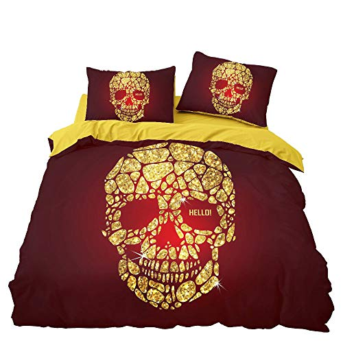 GD-SJK Bed Linen Set 3D Skull Duvet Cover Bedding Sets Skull Duvet Cover with Pillow Case or Bed Linen Leaf with Zip Closure All Season Bedding Set (220 x 240 cm, A01)
