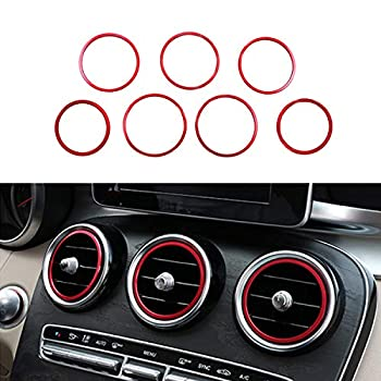 Ramecar Air Conditioner Vent/Opening Inner Trim Decoration Covers for 2015-up Mercedes W205 C180 C250 C300 C350 C400 C63 AMG 2016-up GLC Class  7 pcs Red Aluminum