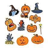 EXCEART 11 Piezas Bordado Coser en Parches Halloween Calabaza Cráneo Apliques Costura Dibujos Animados Insignias Decoración para Jeans Sombrero Ropa Decoración Vestido