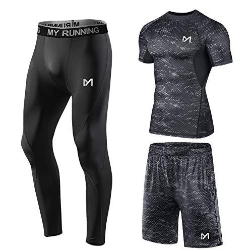 MEETYOO Camiseta Compresion Hombre, Leggings Compresión Camisetas Manga Larga Pantalón Running para...