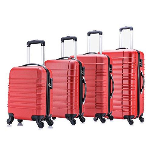 Jalano 4-delige kofferset harde koffers in elkaar stapelbaar bagage set koffer trolley harde schaal in 4 kleuren