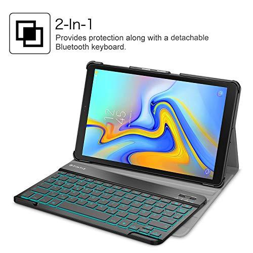 Fintie Tastatur Hülle für Samsung Galaxy Tab A 10.5 SM-T590/T595 - Schutzhülle mit [Hintergrundbeleuchtung in 7 Farben] magnetisch Abnehmbarer drahtloser Deutscher Bluetooth Tastatur, Schwarz