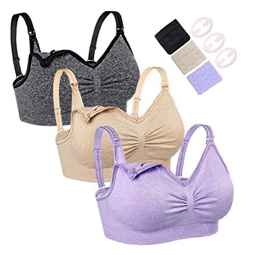 Icvwiafny Nursing Bra for Breastfeeding Women Wireless Maternity Bras for Pregnancy 3PACK (Large, Purple+Nude+Black)