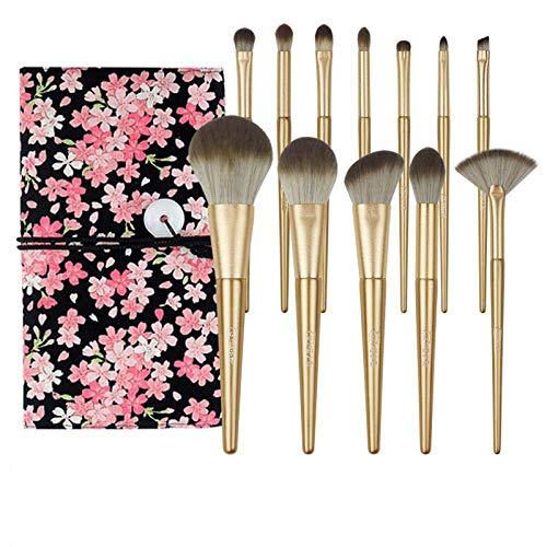 N /A QJYNS Ensemble de pinceaux de Maquillage,Pinceau à paupières, Pinceau à Poudre Libre, Outils de Maquillage débutant 12 pièces avec Sac de Pinceau Rose Fleur de Cerisier Cadeau Exquis