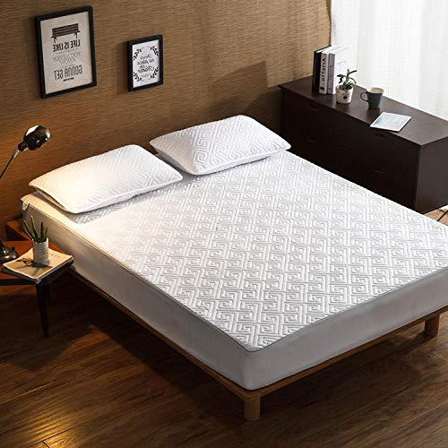 YFGY Mattress Hypoallergenic Breathable Bed Sheets Super king,Thicked Fitted Bed Sheets, Protective Cover Non-Slip Mattress Cover For Bedroom Hotel Homestay white1 180cm×200+35cm