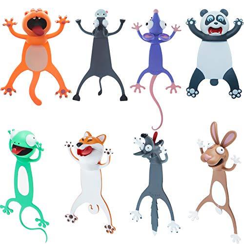 8 Stücke 3D Karikatur Tier Lesezeichen Set für Kinder Neuheit Lustige Süße Lesezeichen Gequetscht Tier Lesen Lesezeichen Schreibwaren Geschenke Party Gunst für Kinder Student