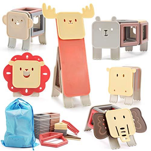 nicknack Magnetische Bausteine Tier 83PCS für Kinder 3D Magnetische Bausteinspiele STEM Pädagogisches Kinderspielzeug Geschenk für Jungen Mädchen Alter 3 4 5 6 7 Jahre alt