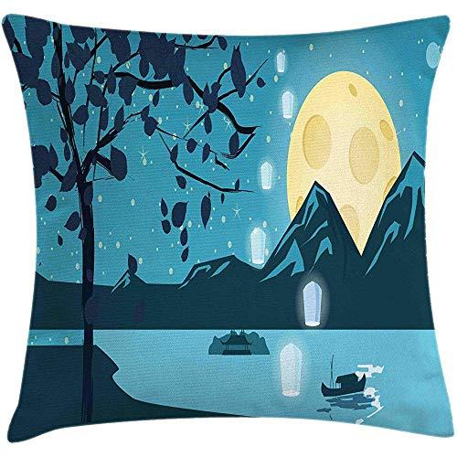SSHELEY Funda de cojín de Almohada Magic Moon, Ilustración Paisaje Nocturno de Luna sobre montañas, Funda de Almohada Cuadrada Crema Mar Violeta Oscuro