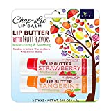 CHAP-LIP Lip Butter Lip Balm with Fruit Flavors, Cocoa Butter, Coconut Oil   Moisturizing Vitamin E & Total Hydration Treatment & Soothing Lip Therapy (2 Count - Strawberry & Tangerine)