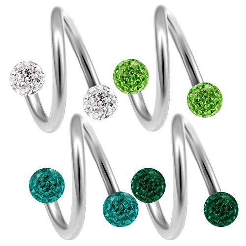 bodyjewelrytrend 4 Stück lippenpiercing spirale 1,2mm 8mm Cartilage augenbrauenpiercing Tragus Helix Ohr Piercing schmuck ferido kristall Kugel - E5TCS
