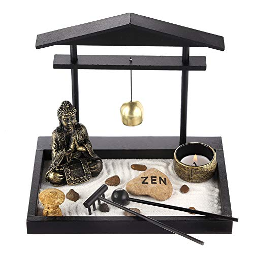 Prime Feng Shui Zen Garden Buddha Figures Mini Bell Archway Garden Kit with Sand Rocks Rake Tower Candle Holder Best Gift(Black)