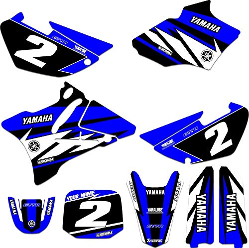Enjoy Mfg Graphics Kit & Custom Number Plate Combo - Compatible Fit for 2002-2014 YAMAHA YZ 85 BLUE