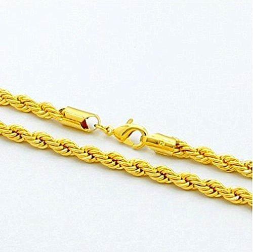 HsTYP Cadena de Oro Collar de Cuerda, Impresionante Real 24K superposición de Alta Gama Moda para Hombres y Mujeres, 20-30 Pulgadas 6 mm
