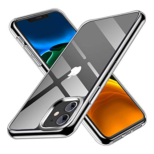 GODTOOK Carcasa para iPhone 11 Funda Transparente, Claro Vidrio Templado Trasera Cubierta con Borde de Silicona TPU Suave, Anti-amarilla, Anti-Arañazos Anti-Choques para iPhone 11 6.1