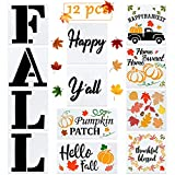 WATINC 12Pcs Fall Stencils Kit, Fall Happy Yall Words,Pumpkin Leaf Harvest Drawing Stencils,Thanksgiving Day Decoration for Home,DIY Porch Sign Painting Stencils, Cutout Painting Mold on Wood Paper