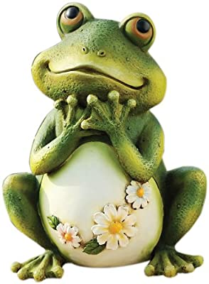 Snoogg 45500226 Joseph Studio 65904 Tall Frog Sitting Up Garden Statue, 9.5-Inch, 9.5 inches, green