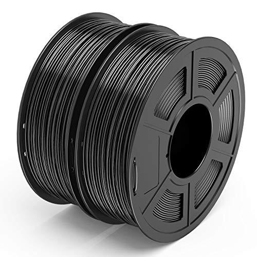TECBEARS PLA 3D Filament Druckmaterialien 1.75mm Schwarz + Schwarz, Dimensionale Genauigkeit +/- 0.02 mm, 1 Kg Spule, 2 Pack