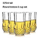 YLL 6 Set Diamant Whisky Verre 325ml Haut Fond Rond Chivas en Verre de bière en Verre Grande Tasse Tasse de bière Projet Transparent