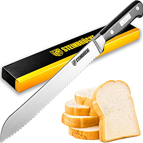 Bread Knife 10 inch - STEINBRÜCKE Ultra Sharp Serrated Knife Made of German 5Cr15Mov Stainless Steel, Full Tang, Classic Bread Slicer with Ergonomic...