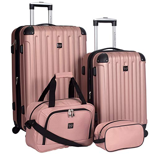 Travelers Club 4 Piece Midtown Spinner Luggage Set, Rose Gold
